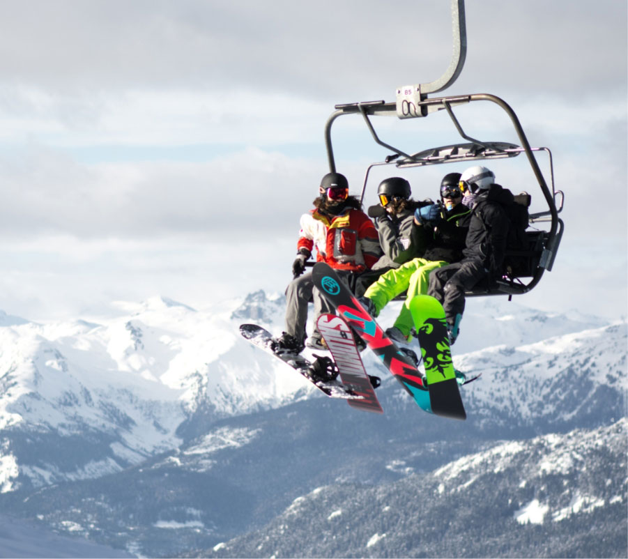 Group ski lift. Skiing events