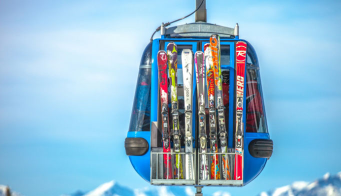 Skis on ski lift