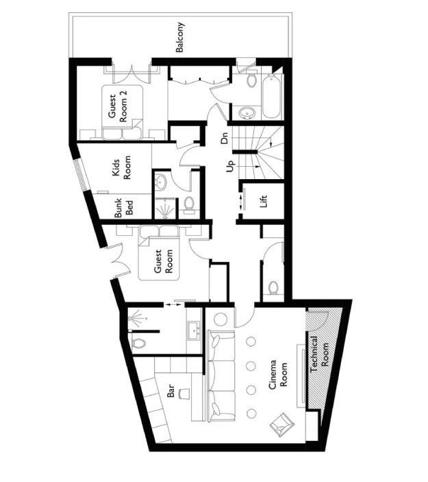 Chalet Colombe Floor Plan - First Floor