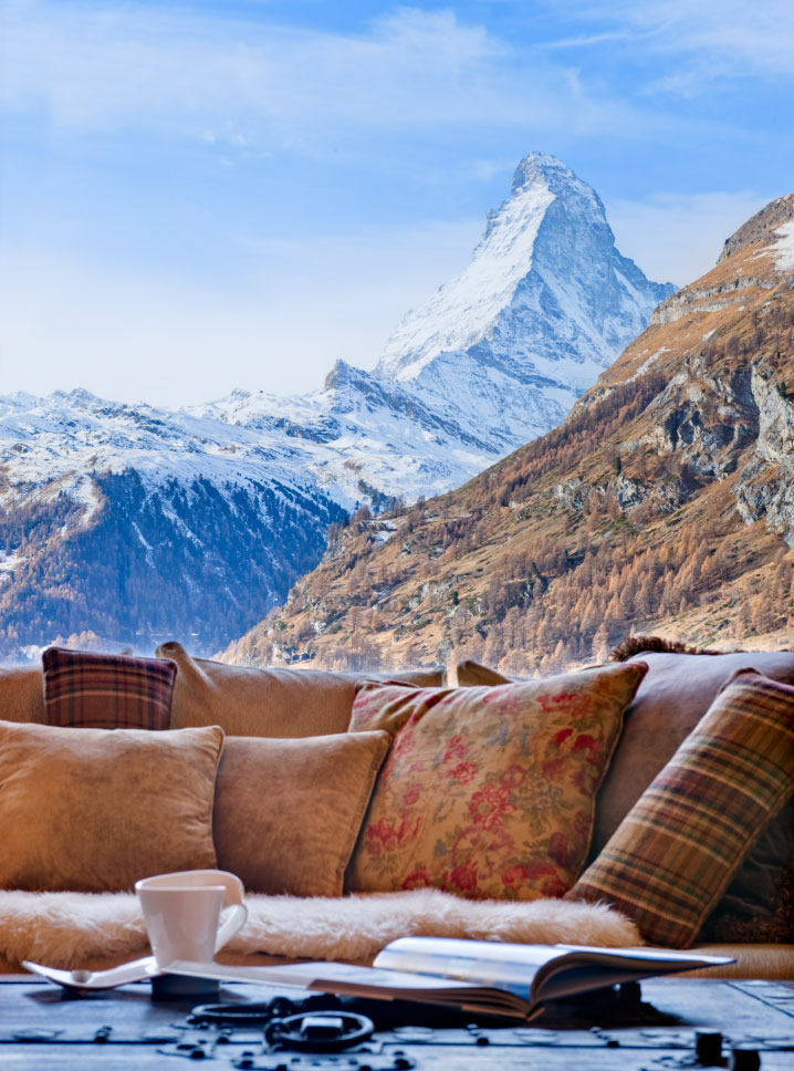 Sofa with Matterhorn view at Chalet Grace in Zermatt