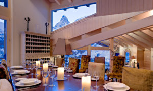 Dining Room at dusk at Chalet Grace, Zermatt