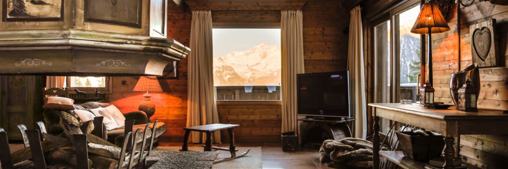 Chalet Hermine Living Room with Mountain View