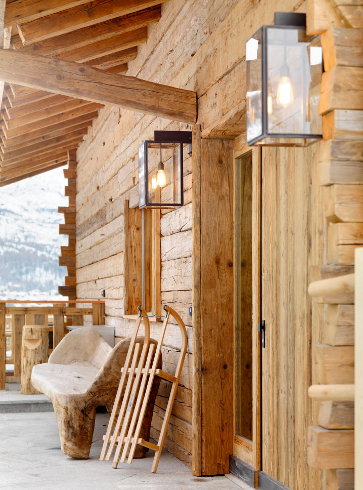 Chalet Entrance details at Chalet Les Anges, Zermatt