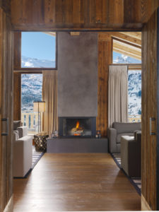 Indoor Fireplace at Chalet Les Anges, Zermatt