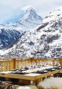 Terrace with outdoor dining at Chalet Les Anges, Zermatt
