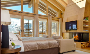 Chalet Maurice Bedroom with floor to ceiling windows