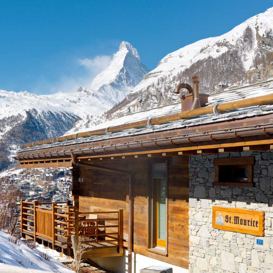 Chalet Maurice Exterior with Matterhorn views, Zermatt