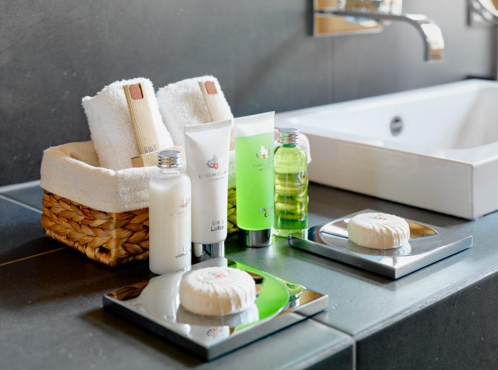 Finishing touches - bathroom toiletries at luxury ski chalet in Zermatt