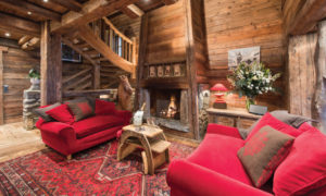 Chalet Montana Living Room with Open Fireplace