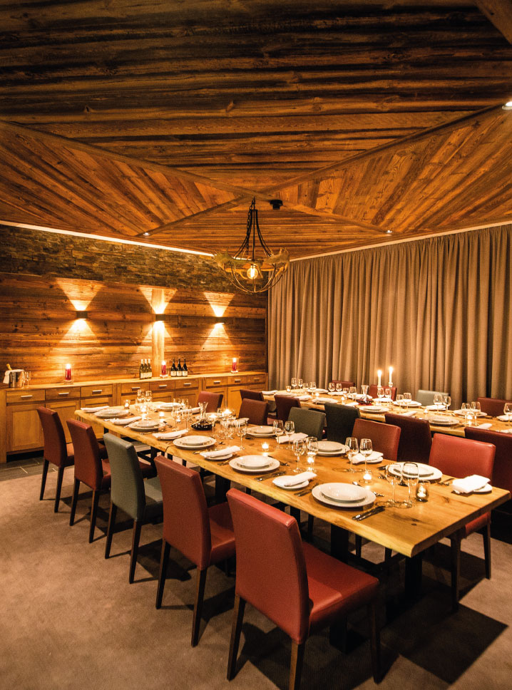 Chalet Montfort Dining Room Set Up - Catered Ski Chalet in St Anton