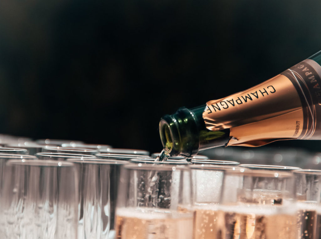 Champagne Pouring - Champagne Reception at luxury ski chalet