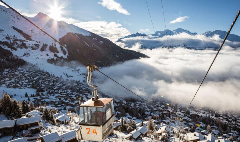 Ski Lift over Verbier ski resort