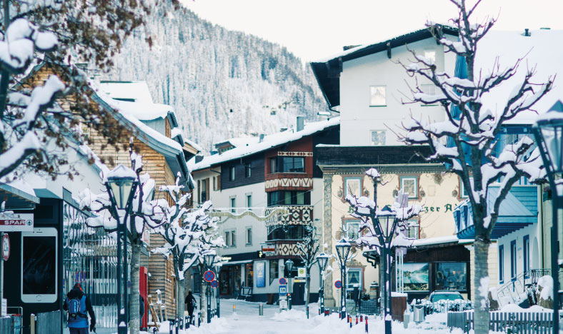 St Anton main street with collection of luxury ski chalets in St Anton