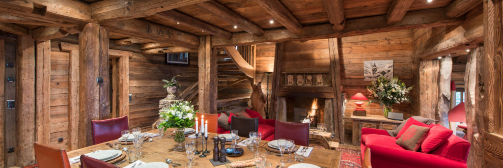 Chalet Montana Open Plan Dining Room & Living Room with Open Fireplace