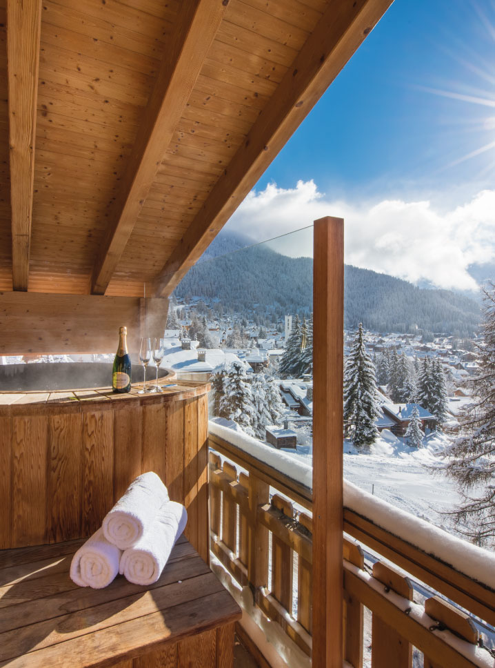Outdoor hot tub on balcony at Chalet No. 14