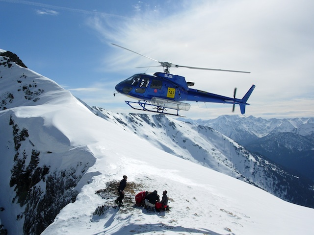 Heli-Skiing in Spain. Heli drop off.