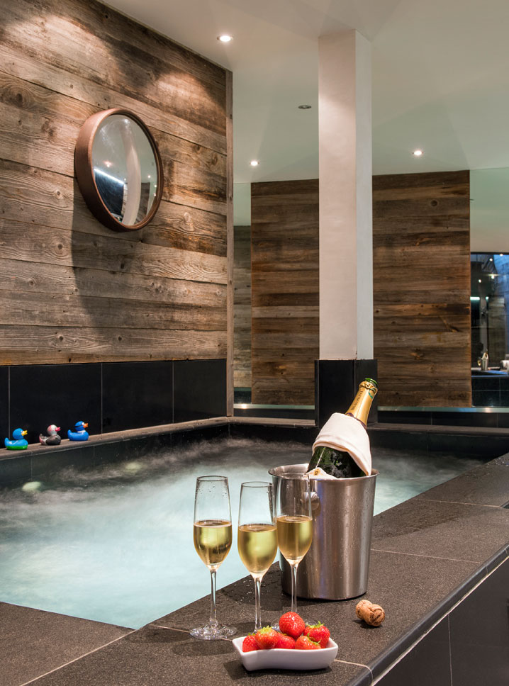 Champagne by the hot tub at The Lodge, Verbier
