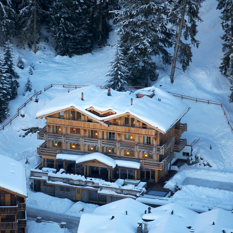 The Lodge Verbier Exterior Drone View