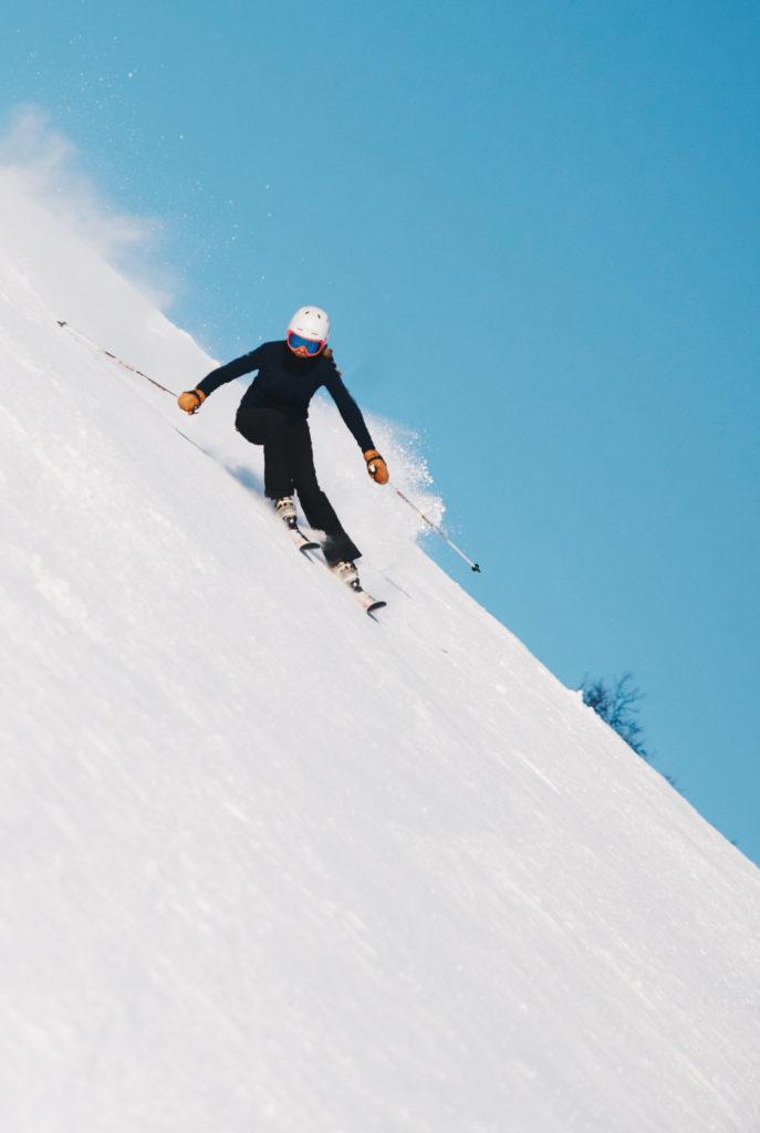Woman skiing on the mountain