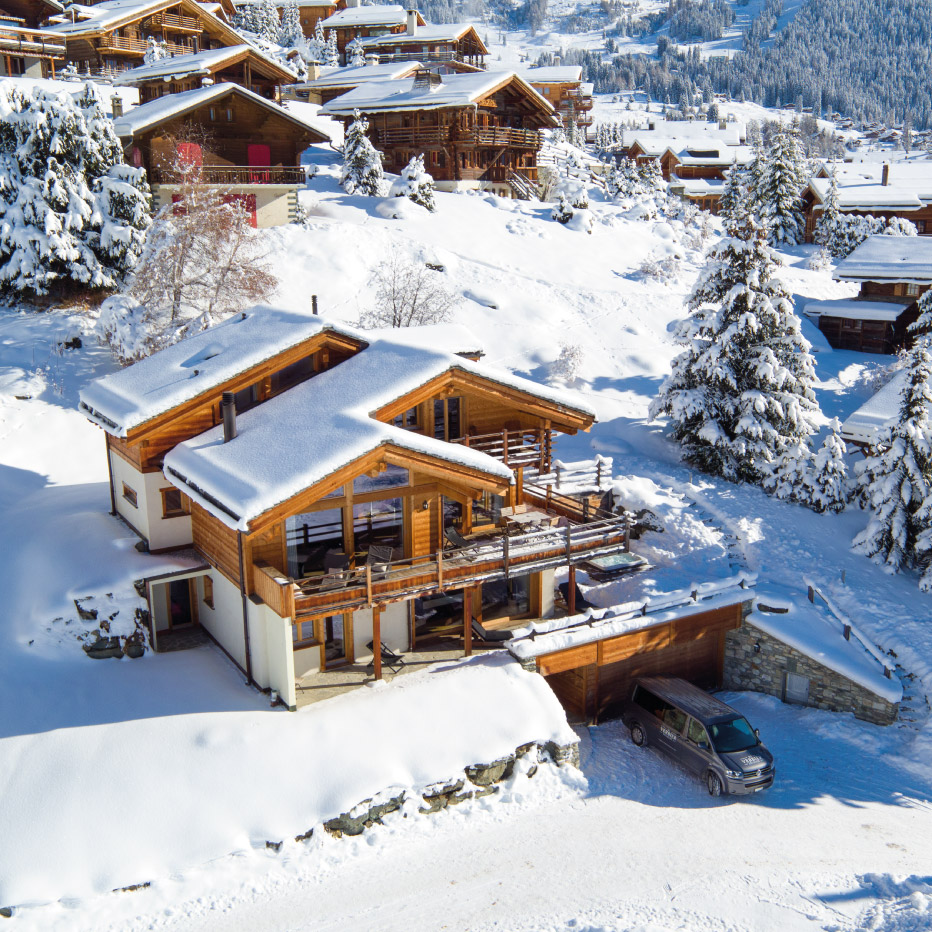Chalet Rock Exterior Drone View - Chalet in Verbier