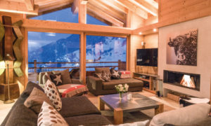 Living Room with view of Verbier - Chalet Rock