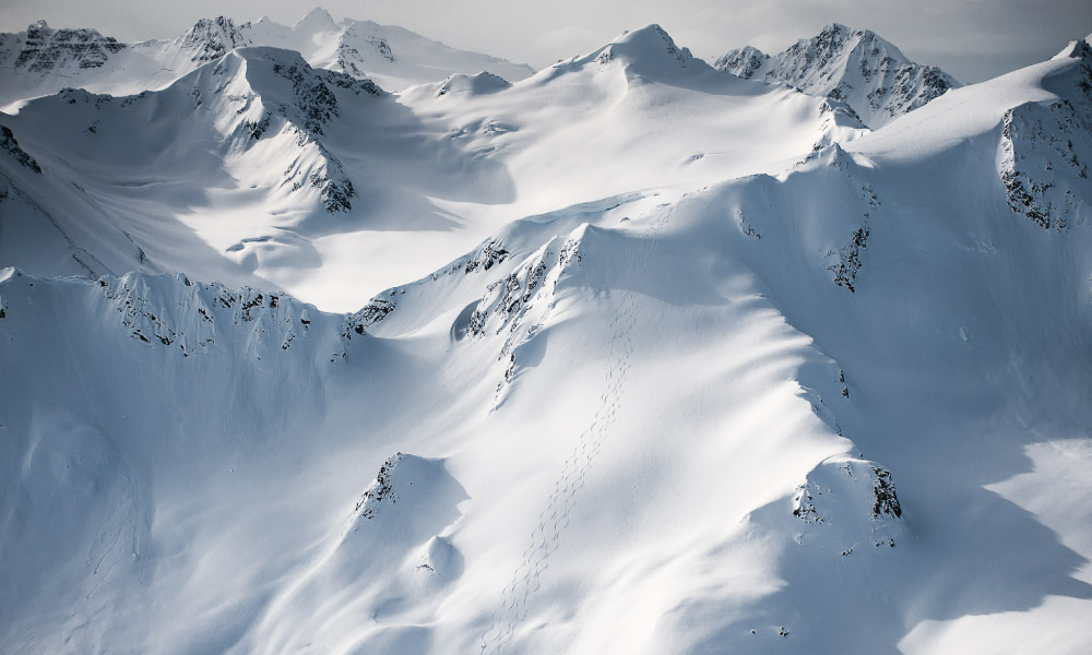 Landscape for heliskiing in British Columbia - fresh powder to ski