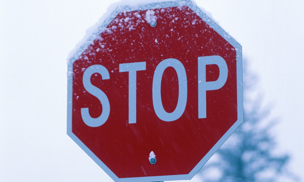 Frosty Stop Sign