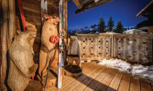 Bears on the balcony at Chalet Montana and views of Courchevel 1850 at night