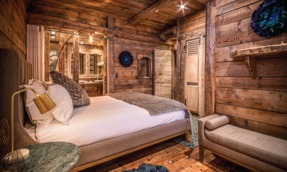 Savoyard style bedroom at luxury Chalet Montana in Courchevel 1850