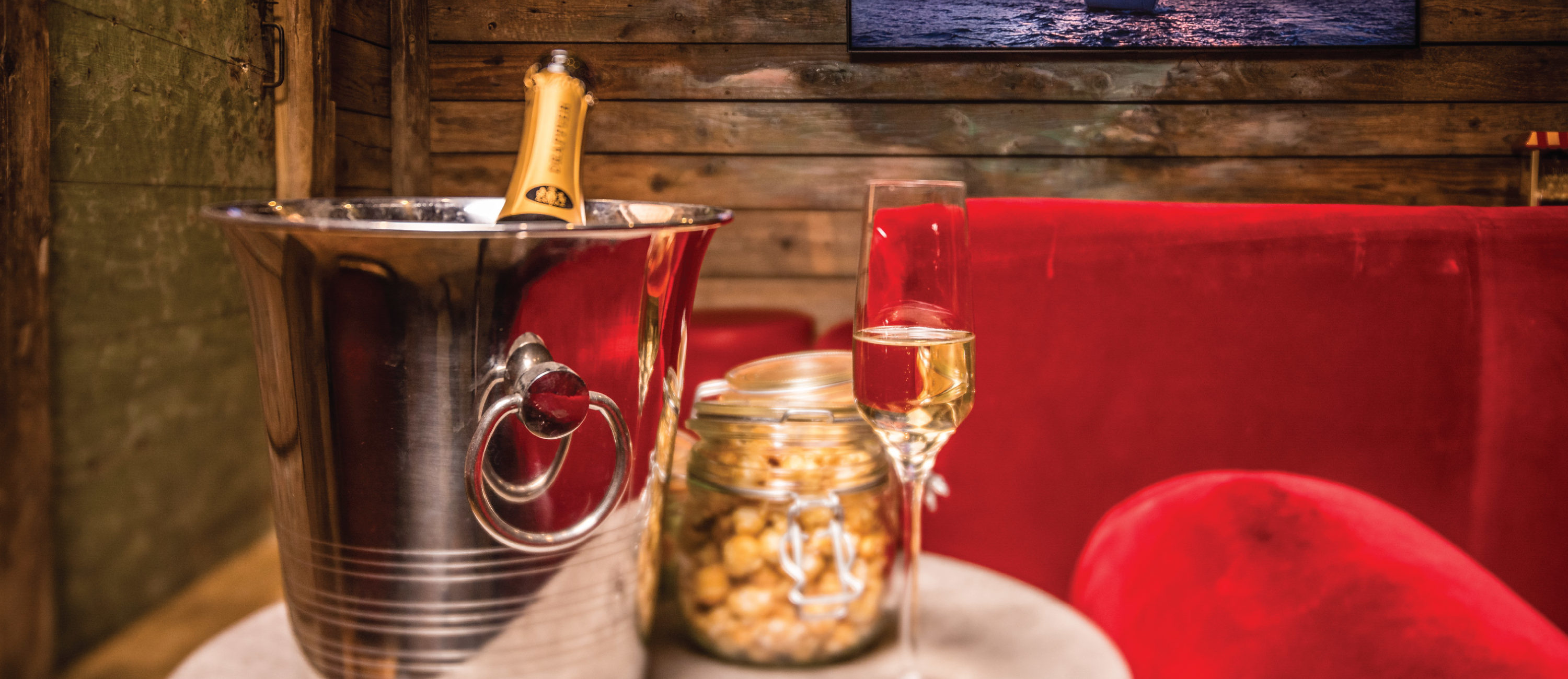 Champagne and popcorn in the cinema room at Chalet Montana