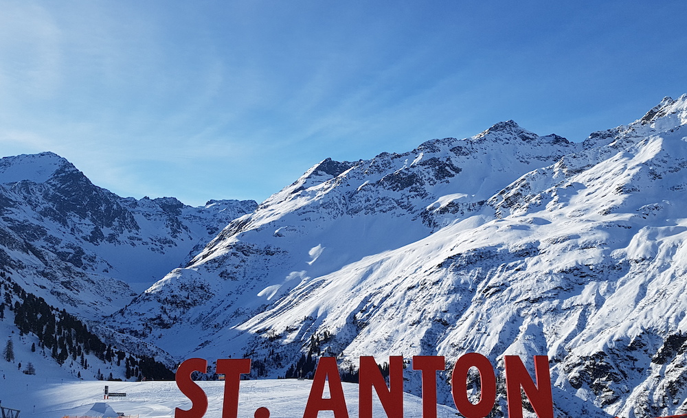 St Anton sign at top of the mountain