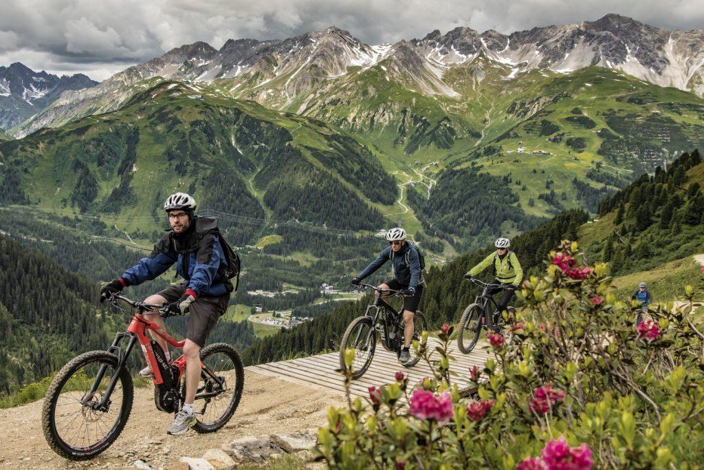 biking through the mountains in summer